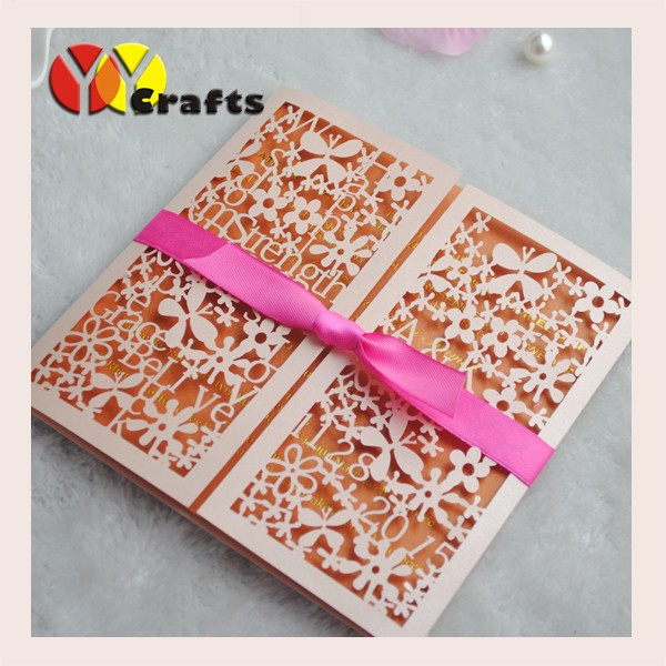 2017 best products laser cut incarnadine paper flowers wedding cards