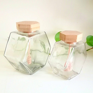 new shape clear hexagonal 330g 530g 240ml 380ml glass honey jar