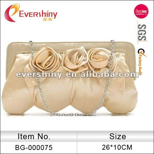 satin flower design newest clutch evening bags party bag