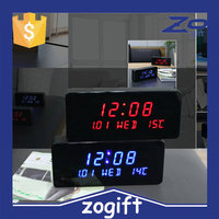 ZOGIFT 2016 New Wood LED Alarm Clock Temperature Sounds Control LED Display Electronic Desktop Digital Table Clocks