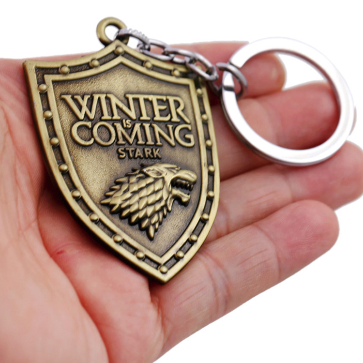 Wholesale game of thrones metal zinc alloy bronze wolf key chain for Stark family