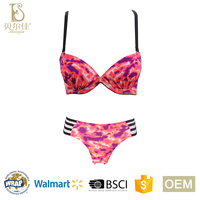 OEM fashion design camouflage pattern printing ladies padded push up bra and brief set for women underwear