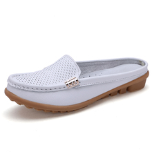 New model genuine cow leather breathable ladies casual beautiful shoes for flat feet