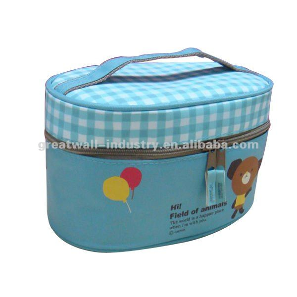 Light Blue PU Leather Cosmetic Bag