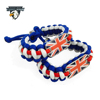 Hot Survival Gear Survival Bracelet UK colors Paracord Bracelet UK Flag Dog tag Bracelet Charms