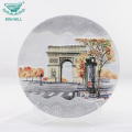 Round shape 3D hand painted embossed collector ceramic souvenir plate