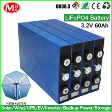 For solar/Wind/UPS rechargeable lithium ion battery 3.2V 60Ah LiFePO4 Battery Cell with deep cycling life