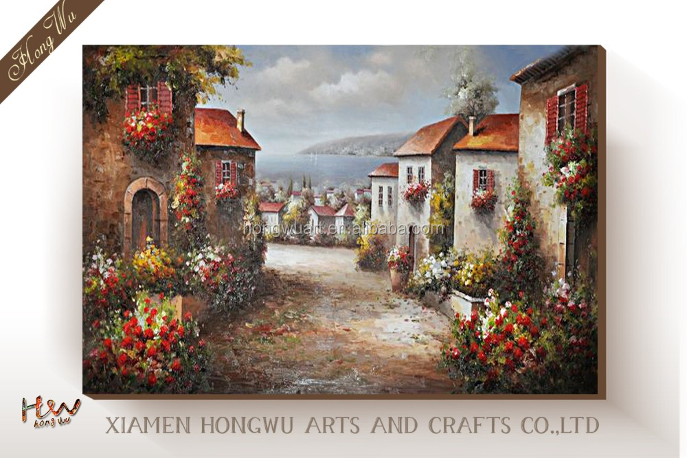 Italian Castle Ocean Beach Flower Garden - Charming Modern Canvas Art Wall Decor Home Decorations Oil Painting