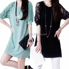 Wholesale women clothing Korea style good quality plus size half sleeve lace casual new dress