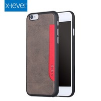 X-Level Hot Sale Trendy PU Leather Card Partner Dark Brown Mobile Phone Case for Iphone 6S Plus