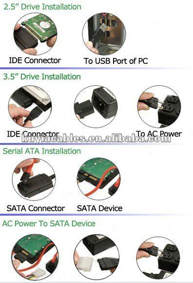 USB 2.0 To SATA / IDE Cable For External Hard Disk HDD + Power Supplier H211