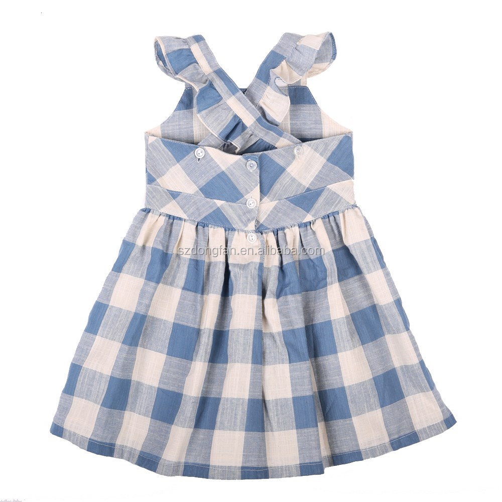High quality 100% cotton linen kid clothes children frocks designs 2016