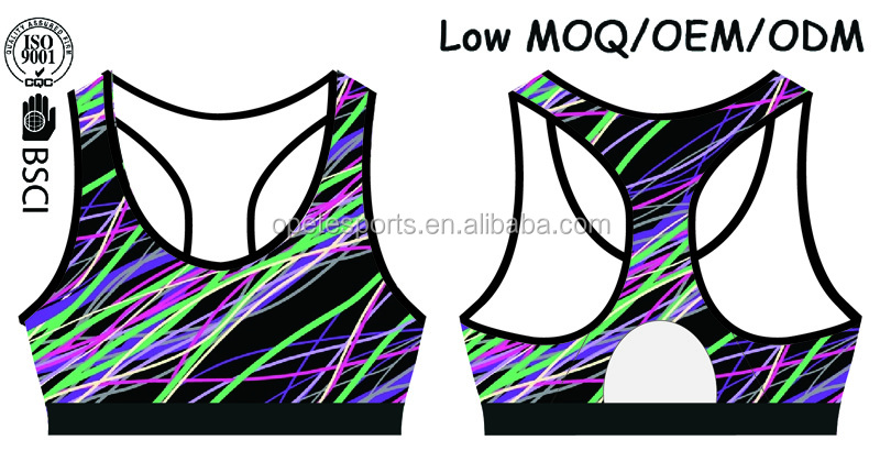 (Factory/low MOQ) custom colorful sports bra