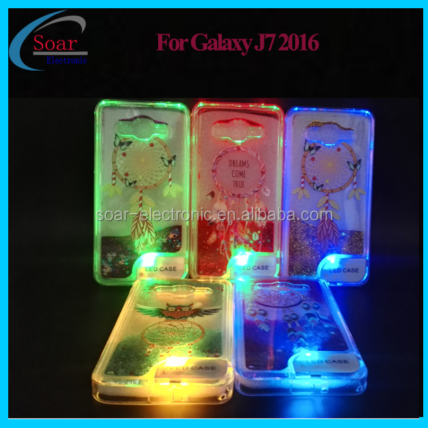 New Fashion Ultra-thin LED Flash Light Liquid TPU Cell Phone Case For Samsung Galaxy J7 2016 Back Cover