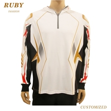 Custom sublimation long sleeve with zipper neck opening mens fishing polo T shirts
