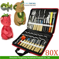 80pcs/Set Portable Vegetable Food Fruit Wood Box Kitchen Carving Tool Kit W/ Bag