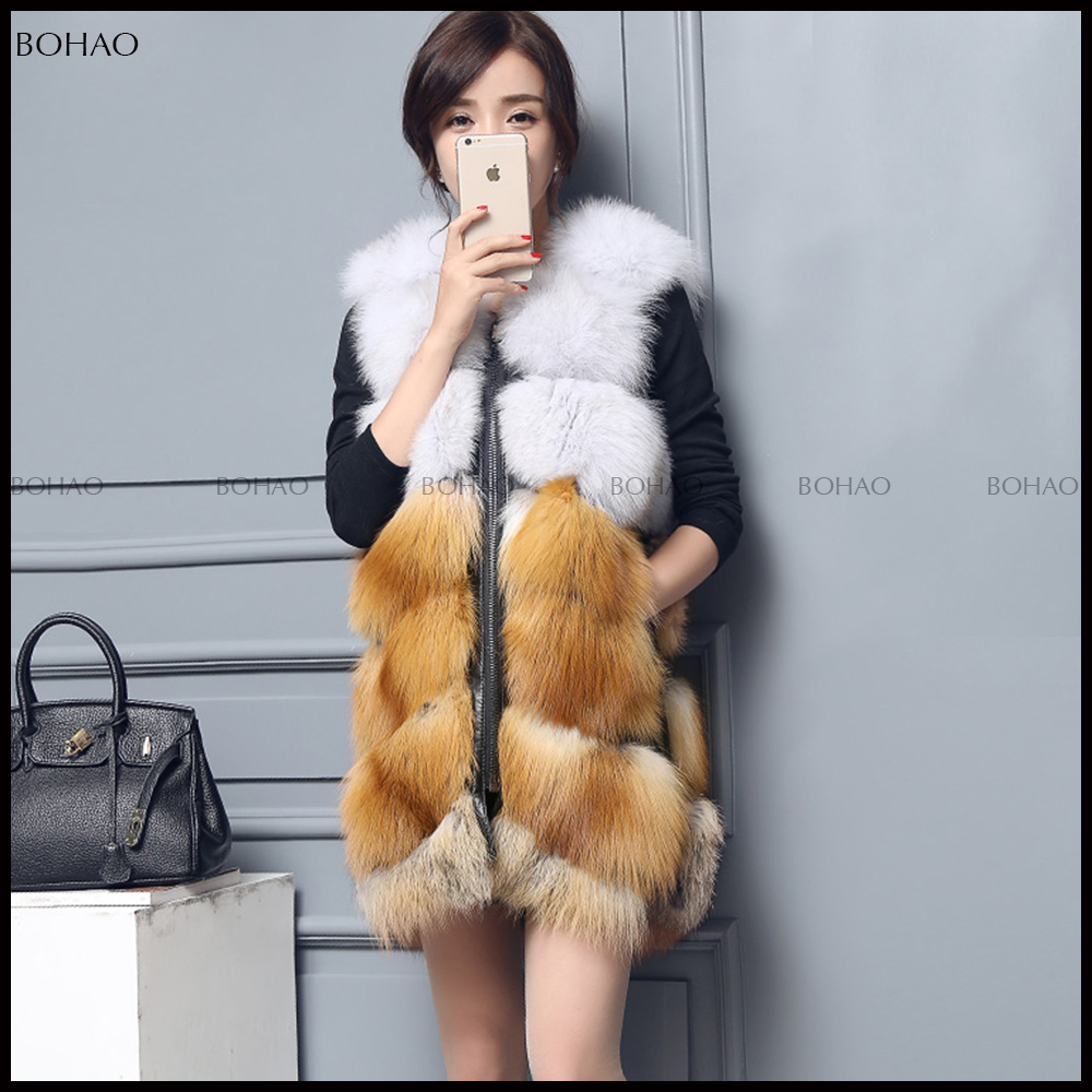 China Supplier Womens Luxury Long Fox Gilet Silver Fox Fur Vests