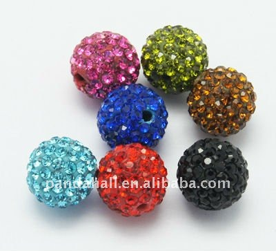 Shambala Disco Ball Beads, Grade A Rhinestone Beads, Polymer Clay, Round, Multicolor, about 14mm, hole: 1.5mm(RB-Q104-M)