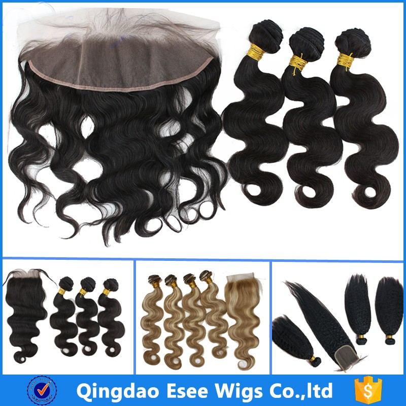 Factory Supplier Virgin Remy Human Hair Silk Base Lace Frontal Closure with 3 Bundles Extensions Weft