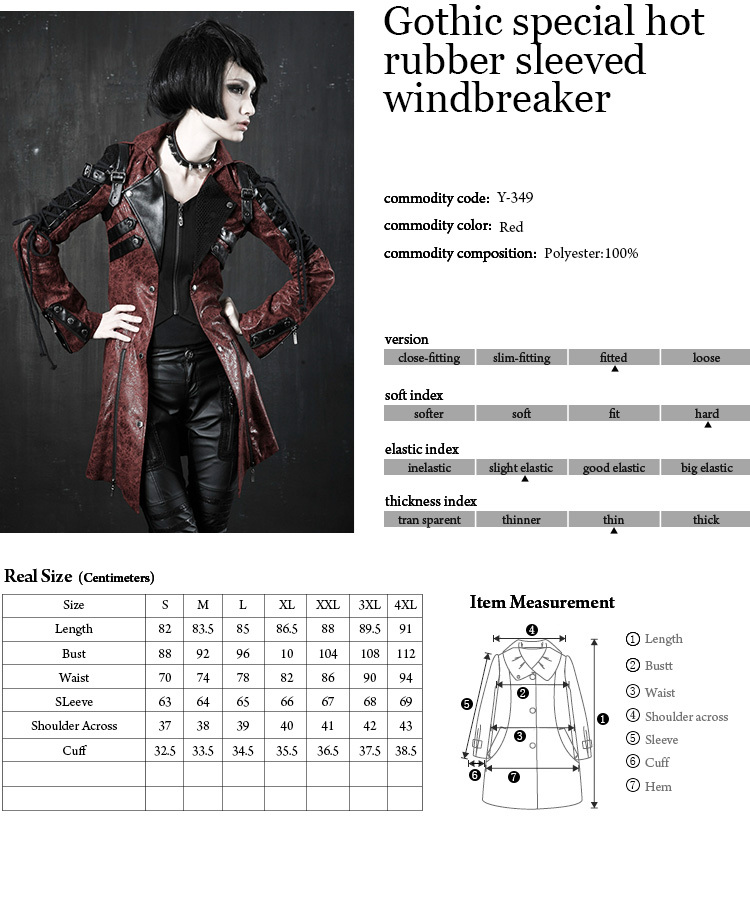 Y-349 Gothic Women Vampire Red Punk Studded Heavy pu Leather Motorcycle Jacket