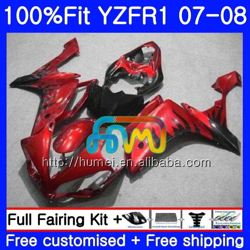 Injection Body For YAMAHA red flames YZF <strong>R1</strong> 07 08 YZF-<strong>R1</strong> 2007 <strong>2008</strong> 90HM55 YZF1000 YZFR1 YZF-1000 YZF 1000 R 1 07 08 <strong>Fairings</strong>