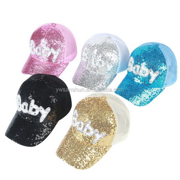 "Wholesale Sun Hat /Baseball Hat With ""Baby"" Word Peaked Hat With Sequnis For Women"