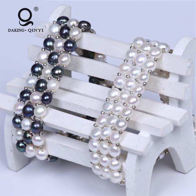 Women New Design Button Freshwater Pearl Beaded Bracelets Bangles