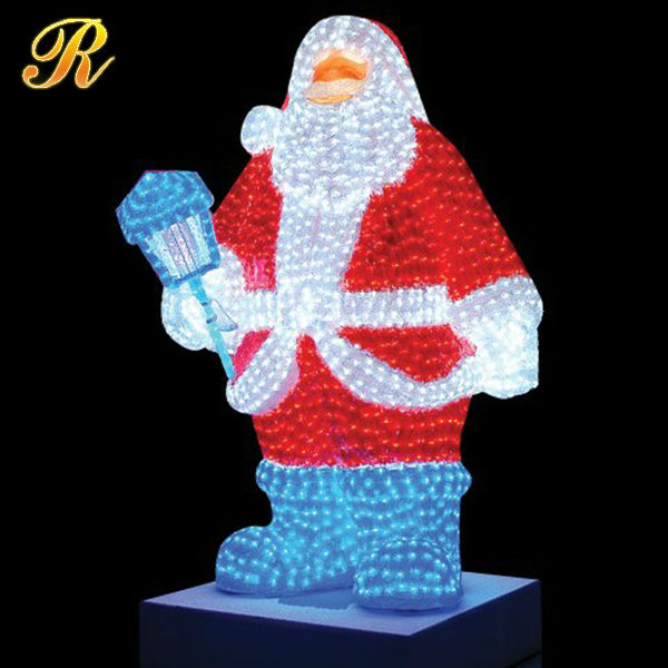 Led lighted plastic big santa claus outdoor 3d model