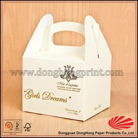 Custom Design White Paper Wholesale Cupcake Boxes Packaging with Handle DH4154#