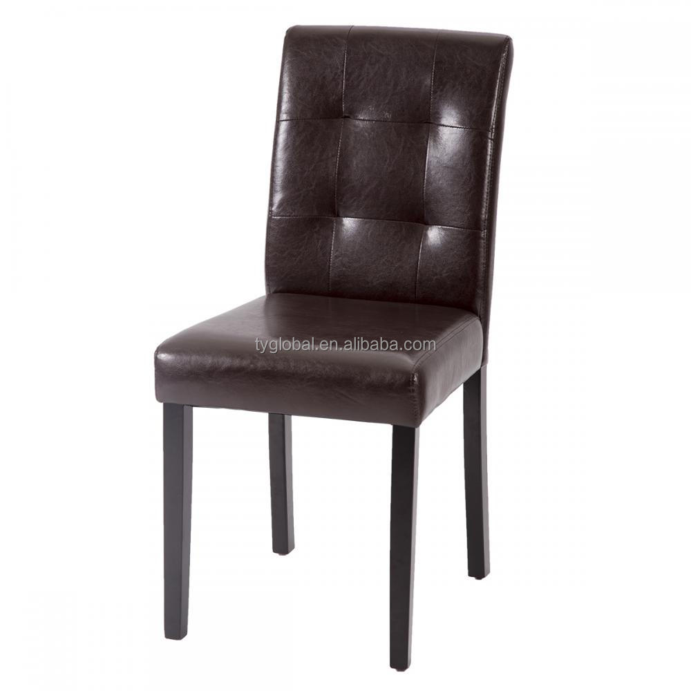 TY-PB04 black antique luxury buttoned leather Living room wooden dining chair