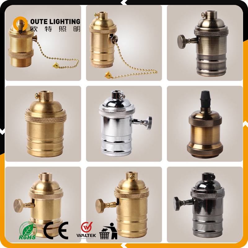 Retro Light Socket Metal B22 Waterproof Lamp Holder Socket With Switch