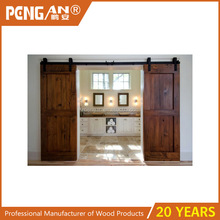 Interior unfinished sliding wood barn door with hardware for apartment
