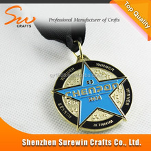 shield gold plated metal new medal trophy with gift box