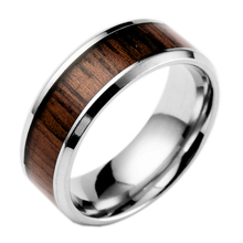 Popular Wedding Ring Creative Design Stainless Steel Inlay Wood Finger Ring Hot Sale