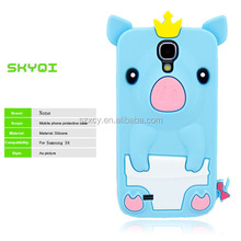 life proof 3D cartoon character Crown pig silicone case cover for samsung galaxy s4 i9500 s4 mini i9190
