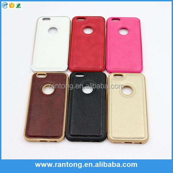 Luxury Aluminum Metal leather Back Cover Case for iPhone 5 5S