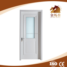 Cheap price and hot sale JMS India MDF PVC interior glass wood door, cheap entry door glass inserts for bathroom