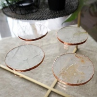 Table Decor Wholesale Custom Natural Round Shaped Hexagon Clear Plain Set Crystal Agate Rose Pink Quartz Coasters with Gold Rim