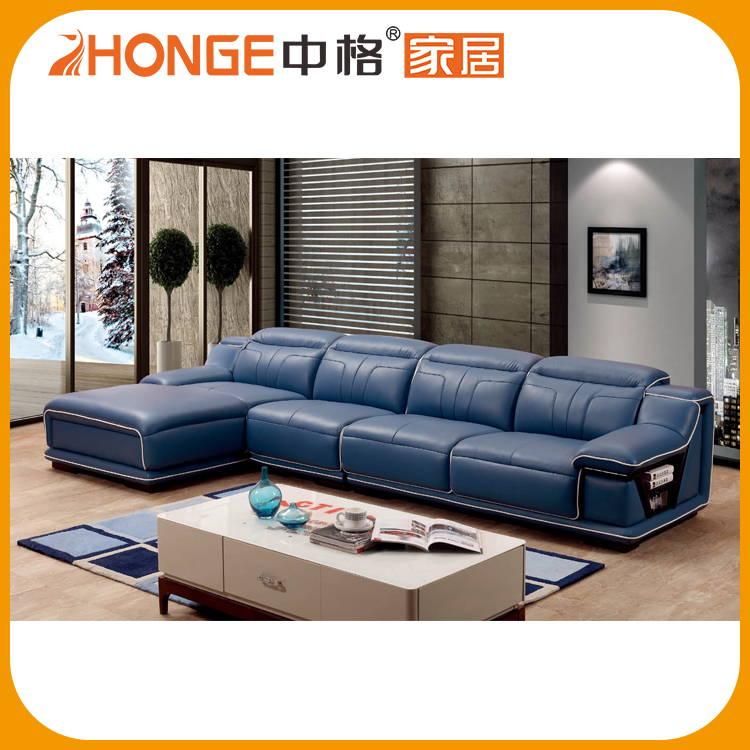 Blue Color Comfortable Cushion Corner Italy Leather Recliner Sofa