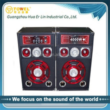Guangzhou factory 2.0 professional active stage speakers with automatically moving laser light/USB/SD/MMC/MiC Input/EQ