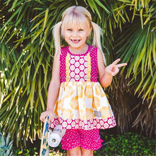 Flower children baby clothes cheap summer polka dot giggle moon casual latest party wear flower girl dresses