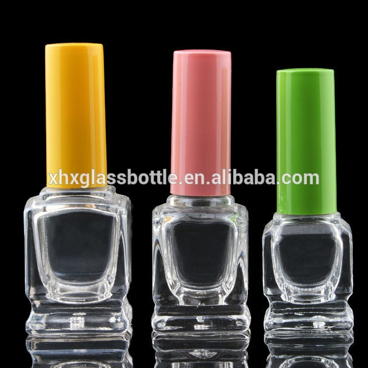 Custom made Wholesale 12Ml Square Empty Nail Polish Bottle With Black Cap