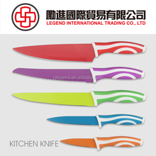Classical switzerland type 5 pcs colorful non-stick coating knife set with plastic handle
