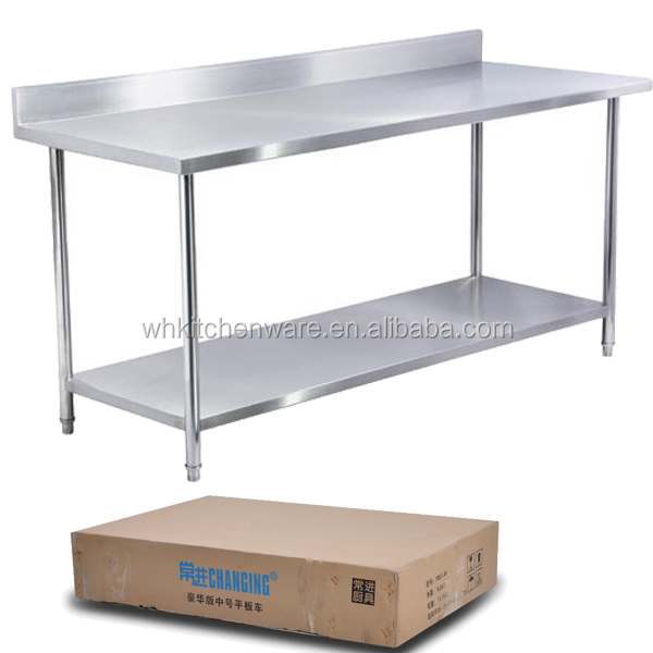 High Quality Polishing Low MOQ Supply Two Tiers Stainless Steel Work Table With Drawers