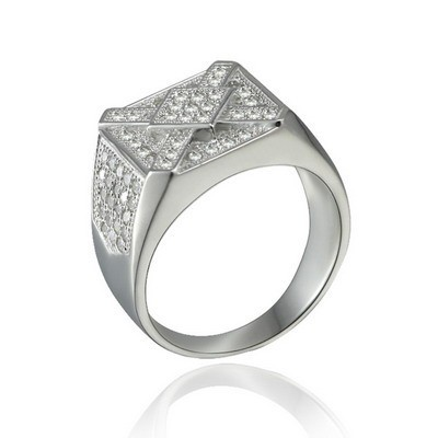 High Polished Pave Micro 925 Dubai Diamond Plain Silver Ring