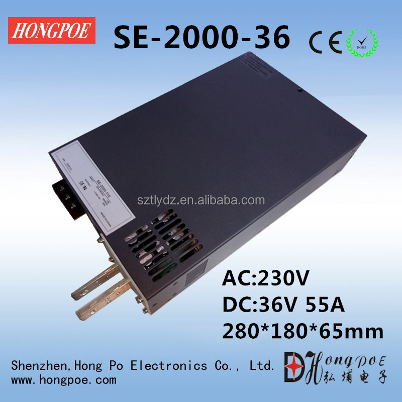Best quality SE-2000-36 DC 0-36v adjustable switching power <strong>supply</strong> 36V 55A ac -dc 36V adjustable power 2000W High-Power PSU