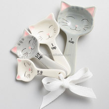 White and Gray Cat Shaped Ceramic Measuring Spoons
