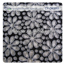 2014 hot selling Print burnout lace fabric/polyamide rose printed mull swiss cotton lace fabric CY-DK0001