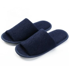 Dark blue terry cloth hotel guest <strong>slipper</strong> for unisex