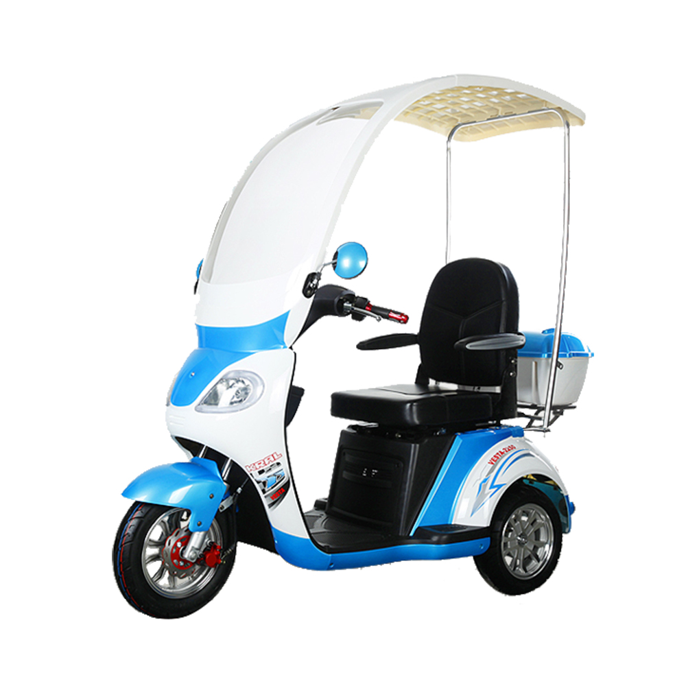 3 wheel motorcycle adult trike scooter with roof for disabled and handicapped